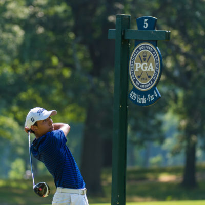 HARTFORD, CT - JULY 30: Aidan Thomas hits his tee shot on the fifth hole during the first round for the 44th Boys Junior PGA Championship held at Keney Park Golf Course on July 30, 2019 in Hartford, Connecticut. (Photo by Hailey Garrett/PGA of America)
