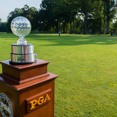 HARTFORD, CT - JULY 30: The Jack Nicklaus trophy on the first hole during the first round for the 44th Boys Junior PGA Championship held at Keney Park Golf Course on July 30, 2019 in Hartford, Connecticut. (Photo by Hailey Garrett/PGA of America)