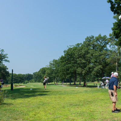 HARTFORD, CT - JULY 30: Maxwell Ford hits his tee shot on the eighth hole during the first round for the 44th Boys Junior PGA Championship held at Keney Park Golf Course on July 30, 2019 in Hartford, Connecticut. (Photo by Hailey Garrett/PGA of America)