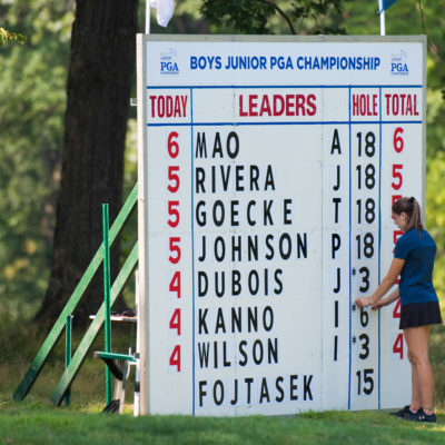 HARTFORD, CT - JULY 30: A volunteer updates the scoreboard during the first round for the 44th Boys Junior PGA Championship held at Keney Park Golf Course on July 30, 2019 in Hartford, Connecticut. (Photo by Hailey Garrett/PGA of America)