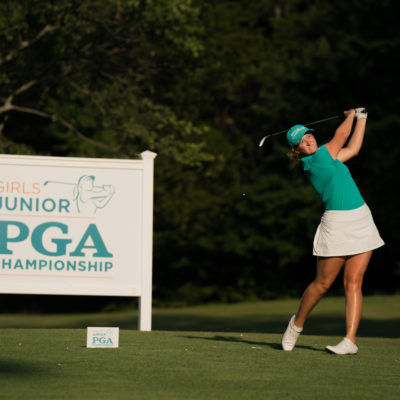 HARTFORD, CT - July 9: Morgan Propeck plays her tee shot at the 18th hole during the first round of the 44th Girls Junior PGA Championship held at Keney Park Golf Course on July 9, 2019 in Hartford, Connecticut. (Photo by Darren Carroll/PGA of America)
