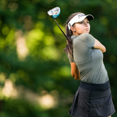 HARTFORD, CT - July 9: Alexa Pano plays her tee shot at the 17th hole during the first round of the 44th Girls Junior PGA Championship held at Keney Park Golf Course on July 9, 2019 in Hartford, Connecticut. (Photo by Darren Carroll/PGA of America)