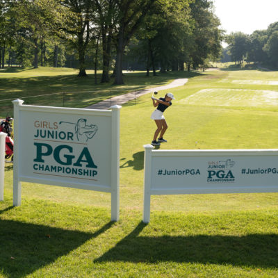 HARTFORD, CT - July 9: Paris Hilinski plays her tee shot at the 10th hole during the first round of the 44th Girls Junior PGA Championship held at Keney Park Golf Course on July 9, 2019 in Hartford, Connecticut. (Photo by Darren Carroll/PGA of America)