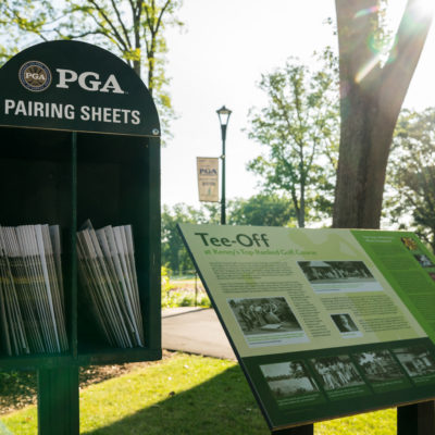 HARTFORD, CT - July 9: First round pairing sheets are displayed during the first round of the 44th Girls Junior PGA Championship held at Keney Park Golf Course on July 9, 2019 in Hartford, Connecticut. (Photo by Darren Carroll/PGA of America)