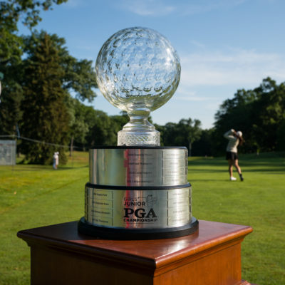 HARTFORD, CT - July 9: The Patty Berg Trophy at the first tee during the first round of the 44th Girls Junior PGA Championship held at Keney Park Golf Course on July 9, 2019 in Hartford, Connecticut. (Photo by Darren Carroll/PGA of America)