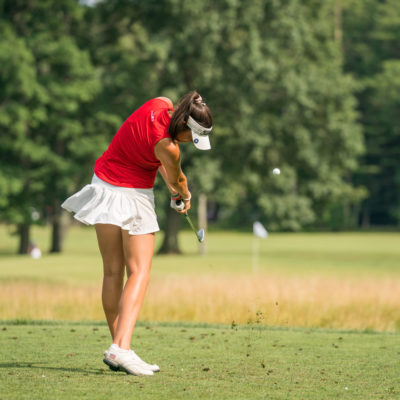 HARTFORD, CT - July 10: Phoebe Brinker plays her tee shot at the sixth hole during the second round of the 44th Girls Junior PGA Championship held at Keney Park Golf Course on July 10, 2019 in Hartford, Connecticut. (Photo by Darren Carroll/PGA of America)