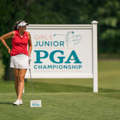 HARTFORD, CT - July 10: Phoebe Brinker waits to play her tee shot at the 18th hole during the second round of the 44th Girls Junior PGA Championship held at Keney Park Golf Course on July 10, 2019 in Hartford, Connecticut. (Photo by Darren Carroll/PGA of America)
