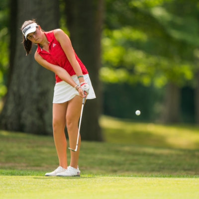 HARTFORD, CT - July 10: Phoebe Brinker plays her third shot at the first hole during the second round of the 44th Girls Junior PGA Championship held at Keney Park Golf Course on July 10, 2019 in Hartford, Connecticut. (Photo by Darren Carroll/PGA of America)
