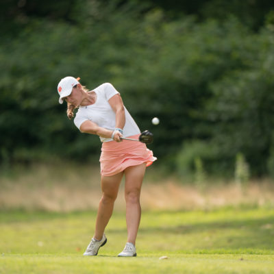 HARTFORD, CT - July 10: Annabelle Pancake plays her tee shot at the seventh hole during the second round of the 44th Girls Junior PGA Championship held at Keney Park Golf Course on July 10, 2019 in Hartford, Connecticut. (Photo by Darren Carroll/PGA of America)