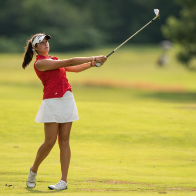 HARTFORD, CT - July 10: Phoebe Brinker plays her second shot at the ninth hole during the second round of the 44th Girls Junior PGA Championship held at Keney Park Golf Course on July 10, 2019 in Hartford, Connecticut. (Photo by Darren Carroll/PGA of America)