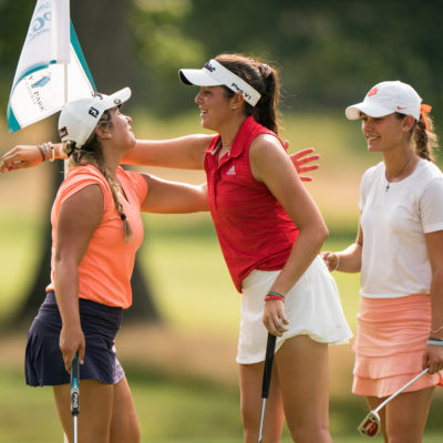 HARTFORD, CT - July 10: Megan Schofill (l) and Phoebe Brinker (c) embrace after the second round of the 44th Girls Junior PGA Championship held at Keney Park Golf Course on July 10, 2019 in Hartford, Connecticut. (Photo by Darren Carroll/PGA of America)