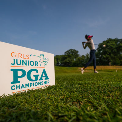 HARTFORD, CT - July 10: Detail of a tee marker at the 11th hole as Isha Dhruva tees off during the second round of the 44th Girls Junior PGA Championship held at Keney Park Golf Course on July 10, 2019 in Hartford, Connecticut. (Photo by Darren Carroll/PGA of America)