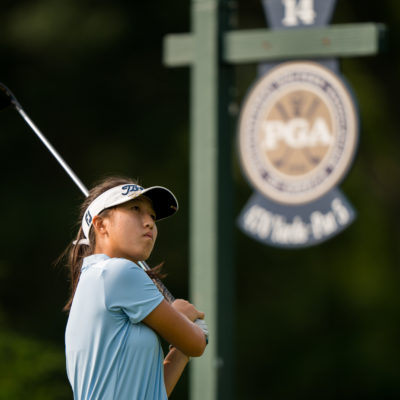 HARTFORD, CT - July 10: Sara Im plays her tee shot at the 14th hole during the second round of the 44th Girls Junior PGA Championship held at Keney Park Golf Course on July 10, 2019 in Hartford, Connecticut. (Photo by Darren Carroll/PGA of America)