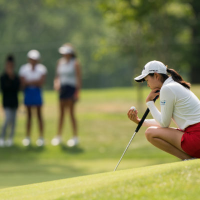 HARTFORD, CT - July 11: Rose Zhang waits to putt at the 18th hole during the third round of the 44th Girls Junior PGA Championship held at Keney Park Golf Course on July 11, 2019 in Hartford, Connecticut. (Photo by Darren Carroll/PGA of America)