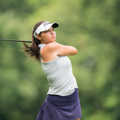 HARTFORD, CT - July 11: Alexa Pano plays her tee shot at the 11th hole during the third round of the 44th Girls Junior PGA Championship held at Keney Park Golf Course on July 11, 2019 in Hartford, Connecticut. (Photo by Darren Carroll/PGA of America)