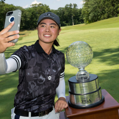 HARTFORD, CT - July 12: Yuka Saso poeses with teh Patty Berg Trophy after winning the 44th Girls Junior PGA Championship held at Keney Park Golf Course on July 12, 2019 in Hartford, Connecticut. (Photo by Darren Carroll/PGA of America)