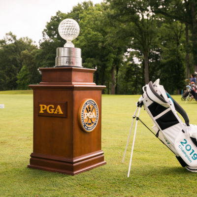 HARTFORD, CT - July 12: The Patty Berg Trophy and the champion's golf bag are seen at the first tee during the final round of the 44th Girls Junior PGA Championship held at Keney Park Golf Course on July 12, 2019 in Hartford, Connecticut. (Photo by Darren Carroll/PGA of America)