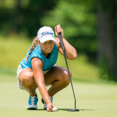 HARTFORD, CT - July 12: Jensen Castle lines up a putt at the 17th hole during the final round of the 44th Girls Junior PGA Championship held at Keney Park Golf Course on July 12, 2019 in Hartford, Connecticut. (Photo by Darren Carroll/PGA of America)