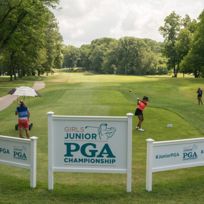 HARTFORD, CT - July 12: Megha Ganne plays her tee shot at the 10 hole during the final round of the 44th Girls Junior PGA Championship held at Keney Park Golf Course on July 12, 2019 in Hartford, Connecticut. (Photo by Darren Carroll/PGA of America)