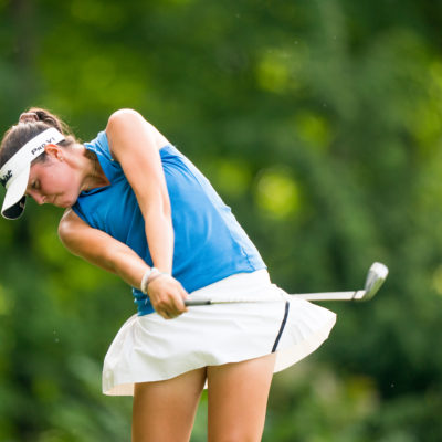 HARTFORD, CT - July 12: Phoebe Brinker plays her tee shot at the second hole during the final round of the 44th Girls Junior PGA Championship held at Keney Park Golf Course on July 12, 2019 in Hartford, Connecticut. (Photo by Darren Carroll/PGA of America)