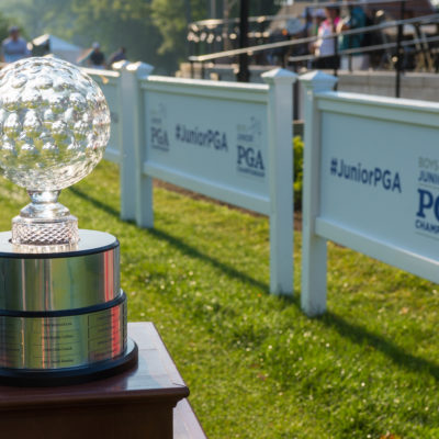 HARTFORD, CT - JULY 31: The Jack Nicklaus trophy on the first hole during the second round for the 44th Boys Junior PGA Championship held at Keney Park Golf Course on July 31, 2019 in Hartford, Connecticut. (Photo by Hailey Garrett/PGA of America)