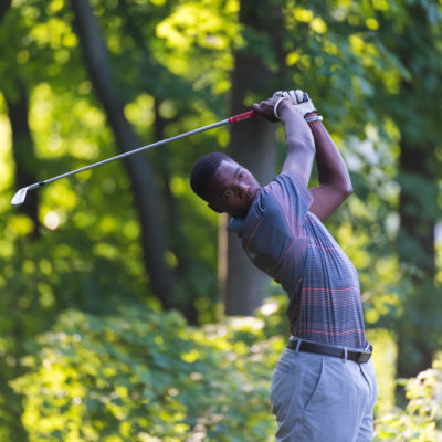 HARTFORD, CT - JULY 31: Isaiah Wilson hits his tee shot on the second hole during the second round for the 44th Boys Junior PGA Championship held at Keney Park Golf Course on July 31, 2019 in Hartford, Connecticut. (Photo by Hailey Garrett/PGA of America)