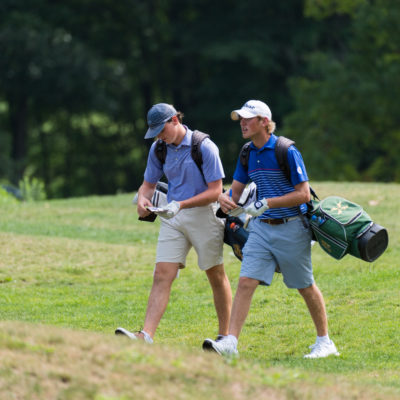 HARTFORD, CT - AUGUST 1: Pierce Johnson and Drew Doyle walk towards the 18th green during the third round for the 44th Boys Junior PGA Championship held at Keney Park Golf Course on August 1, 2019 in Hartford, Connecticut. (Photo by Hailey Garrett/PGA of America)