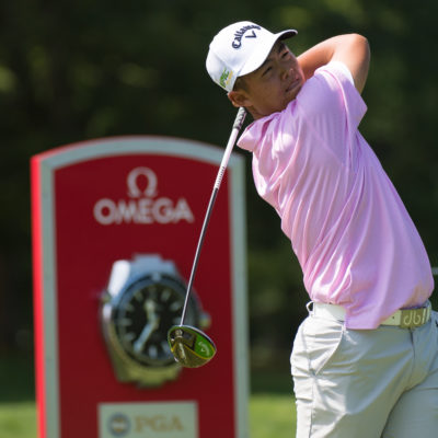 HARTFORD, CT - AUGUST 1: Andrew Jung hits his tee shot on the first hole during the third round for the 44th Boys Junior PGA Championship held at Keney Park Golf Course on August 1, 2019 in Hartford, Connecticut. (Photo by Hailey Garrett/PGA of America)