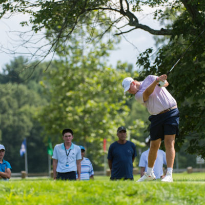 HARTFORD, CT - AUGUST 1: Canon Claycomb hits his tee shot on the 16th hole during the third round for the 44th Boys Junior PGA Championship held at Keney Park Golf Course on August 1, 2019 in Hartford, Connecticut. (Photo by Hailey Garrett/PGA of America)