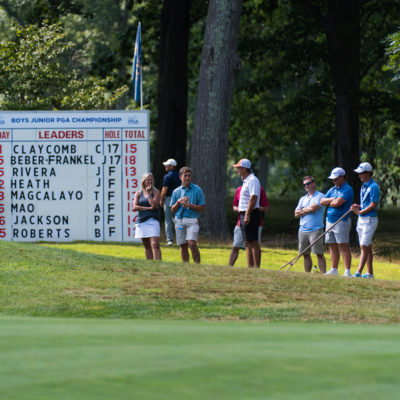 HARTFORD, CT - AUGUST 1: The gallery on the 18th hole during the third round for the 44th Boys Junior PGA Championship held at Keney Park Golf Course on August 1, 2019 in Hartford, Connecticut. (Photo by Hailey Garrett/PGA of America)