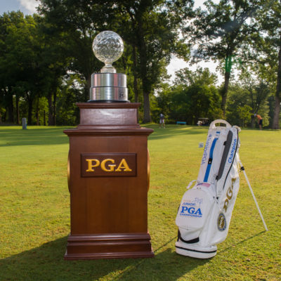 HARTFORD, CT - AUGUST 2: The Jack Nicklaus trophy and the champion's golf bag on the first hole during the final round of the 44th Girls Junior PGA Championship held at Keney Park Golf Course on August 2, 2019 in Hartford, Connecticut. (Photo by Hailey Garrett/PGA of America)