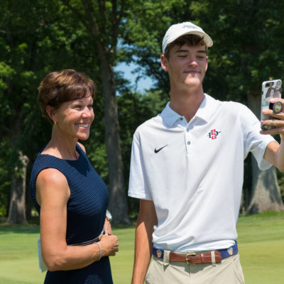 HARTFORD, CT - AUGUST 2: PGA of America President, Suzy Whaley and Jack Heath pose for a photo after the 44th Boys Junior PGA Championship held at Keney Park Golf Course on August 2, 2019 in Hartford, Connecticut. (Photo by Hailey Garrett/PGA of America)
