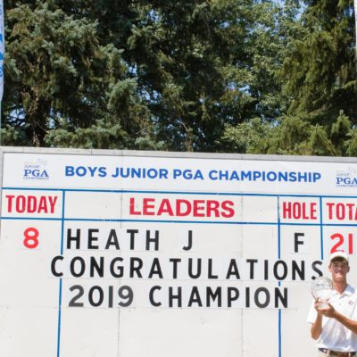 HARTFORD, CT - AUGUST 2: Jack Heath poses with the Jack Niclaus trophy after winning the 44th Boys Junior PGA Championship held at Keney Park Golf Course on August 2, 2019 in Hartford, Connecticut. (Photo by Hailey Garrett/PGA of America)