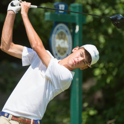 HARTFORD, CT - AUGUST 2: Jack Heath hits his tee shot on the 17th hole during the final round of the 44th Boys Junior PGA Championship held at Keney Park Golf Course on August 2, 2019 in Hartford, Connecticut. (Photo by Hailey Garrett/PGA of America)