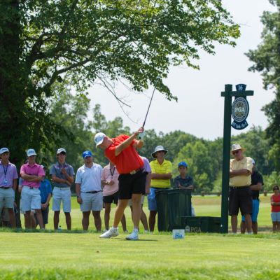 HARTFORD, CT - AUGUST 2: Canon Claycomb hits his tee shot on the 16th hole during the final round of the 44th Boys Junior PGA Championship held at Keney Park Golf Course on August 2, 2019 in Hartford, Connecticut. (Photo by Hailey Garrett/PGA of America)