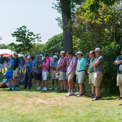 HARTFORD, CT - AUGUST 2: The gallery on the 18th hole during the final round of the 44th Boys Junior PGA Championship held at Keney Park Golf Course on August 2, 2019 in Hartford, Connecticut. (Photo by Hailey Garrett/PGA of America)