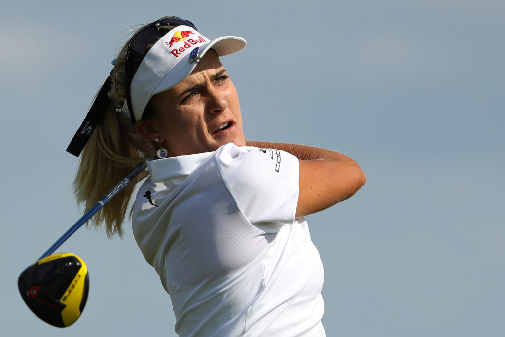 CHASKA, MINNESOTA - JUNE 20: Lexi Thompson hits her tee shot on the 11th hole during the first round of the KPMG PGA Championship at Hazeltine National Golf Club on June 20, 2019 in Chaska, Minnesota. (Photo by Streeter Lecka/PGA of America/PGA of America via Getty Images)