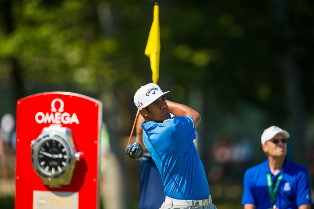 SHEBOYGAN, WISCONSIN - AUGUST 15: Tony Finau hits his tee shot on the first hole during Round Three at the 97th PGA Championship at Whistling Straits on August 15, 2015 in Sheboygan, WI. (Photo by Montana Pritchard/The PGA of America)